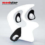Handmade Boomerang Retro style earrings and stabile kinetic modern art sculpture in White and Black by AtomicMobiles.com