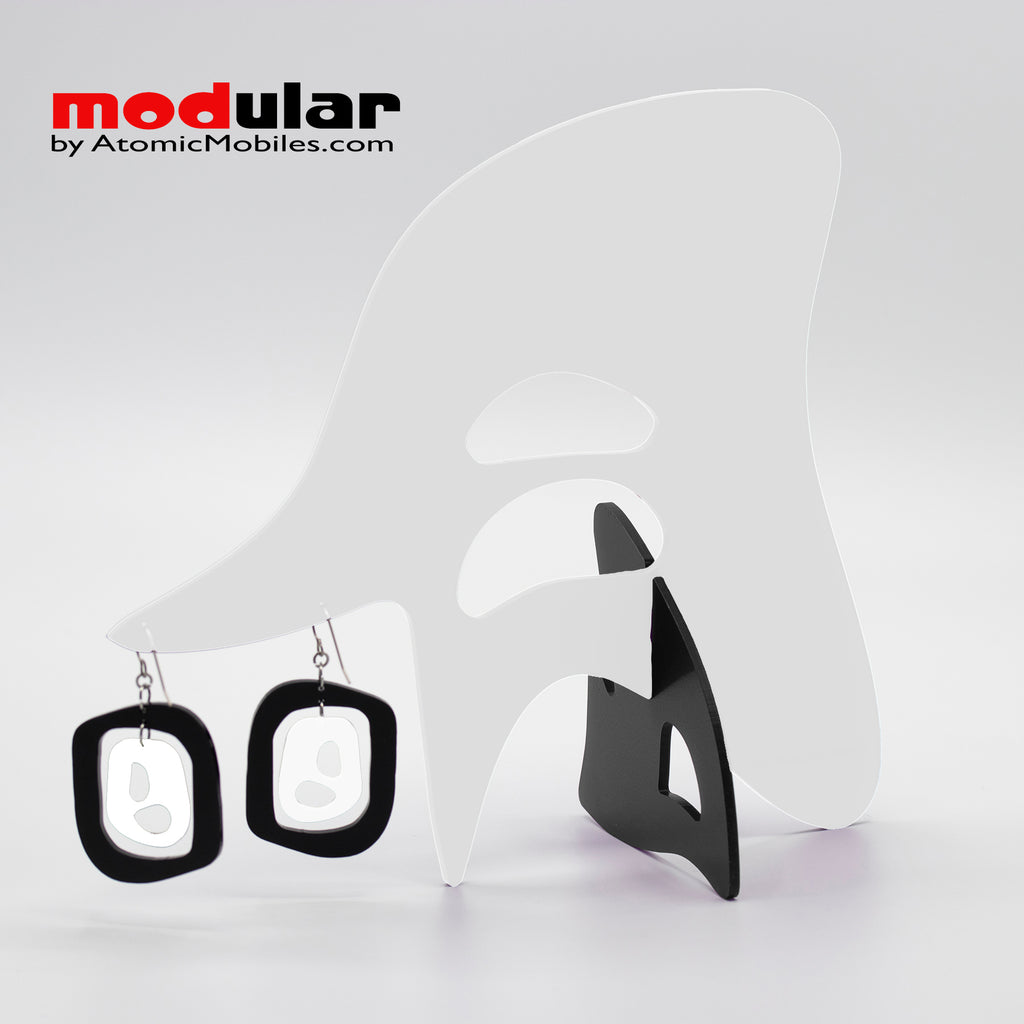 Handmade Mid 20th mod style earrings and stabile kinetic modern art sculpture in White and Black by AtomicMobiles.com