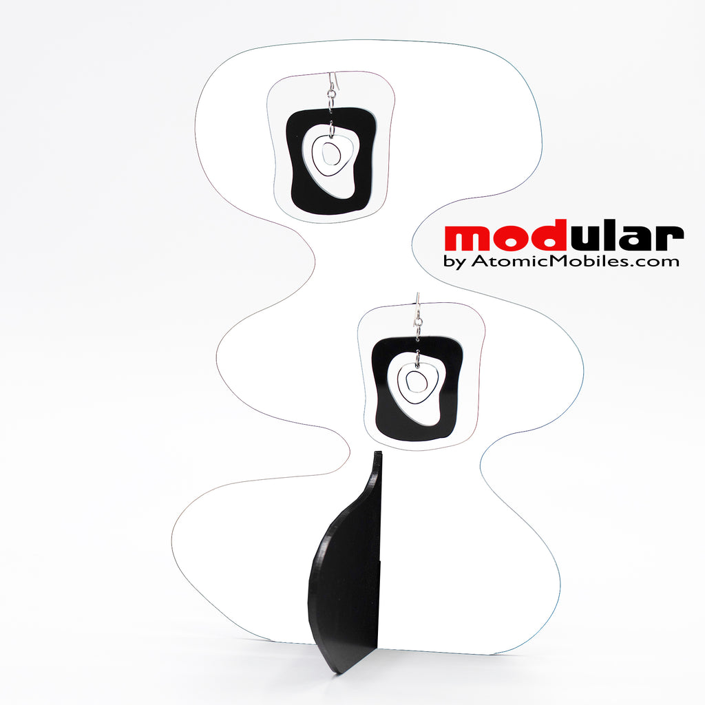 Handmade Mid Mod retro midcentury style earrings and stabile kinetic modern art sculpture in White and Black by AtomicMobiles.com