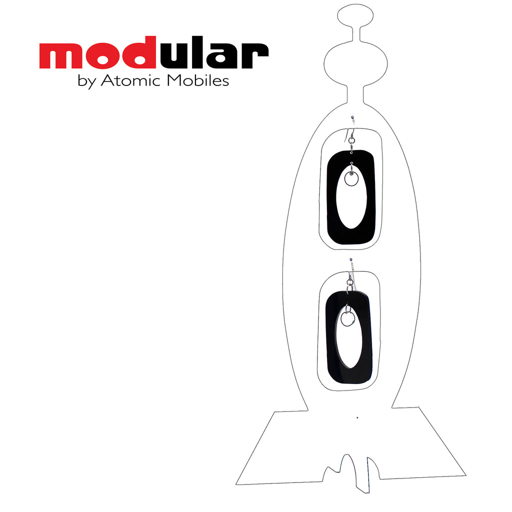 MODular Earrings + Stabile modern art sculpture in White and Black by AtomicMobiles.com