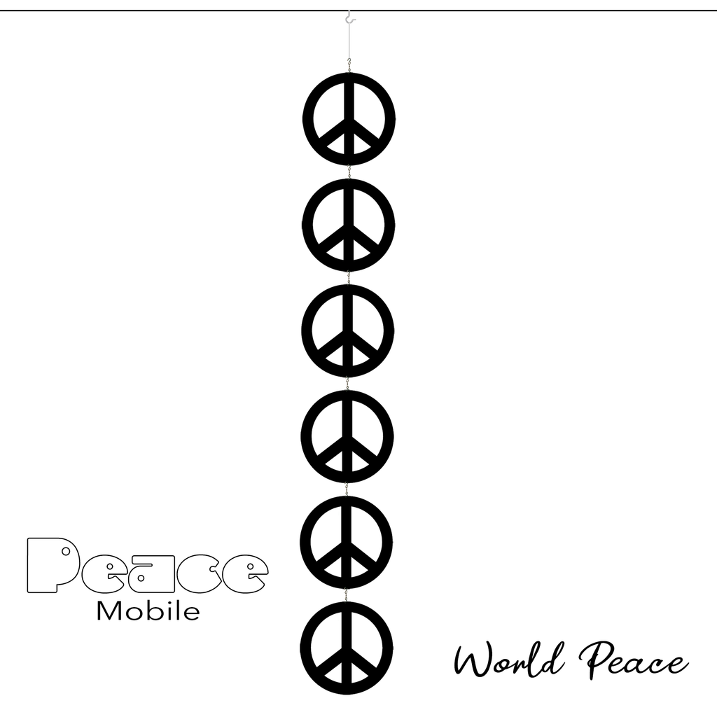 Peace Mobile - 6 Peace signs in a black kinetic hanging art mobile symbolizes World Peace - by AtomicMobiles.com