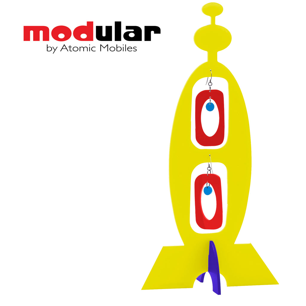 MODular Earrings + Stabile modern art sculpture in Yellow Red and Blue by AtomicMobiles.com
