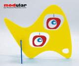 Handmade Paris retro mid century style earrings and stabile kinetic modern art sculpture in Yellow Red and Blue by AtomicMobiles.com