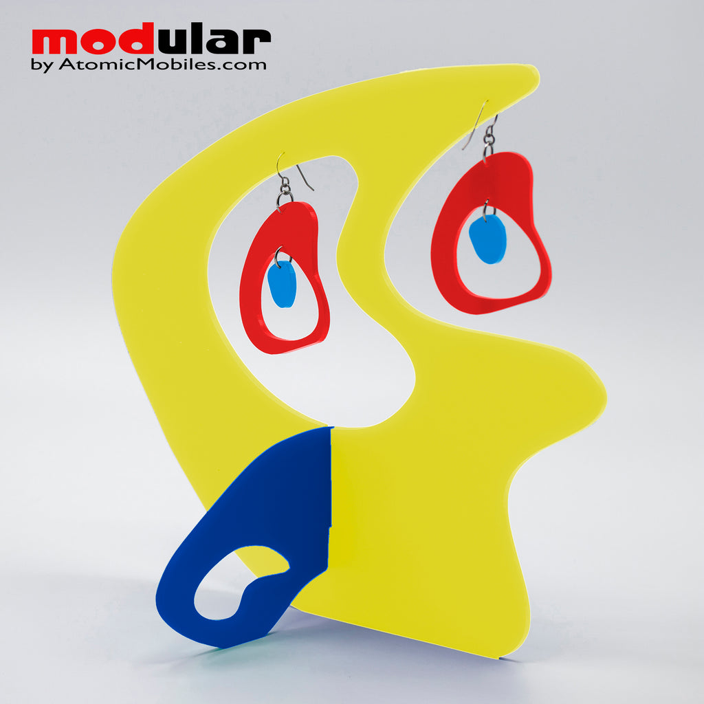 Handmade Boomerang Retro style earrings and stabile kinetic modern art sculpture in Yellow Red and Blue by AtomicMobiles.com