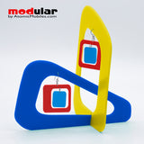 Handmade Coolsville mod style earrings and stabile kinetic modern art sculpture in Yellow, Navy Blue and Red by AtomicMobiles.com
