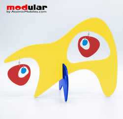 Handmade Googie style earrings and stabile kinetic modern art sculpture in Yellow Red and Blue by AtomicMobiles.com