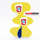 Handmade Mid Mod retro midcentury style earrings and stabile kinetic modern art sculpture in Yellow Red and Blue by AtomicMobiles.com