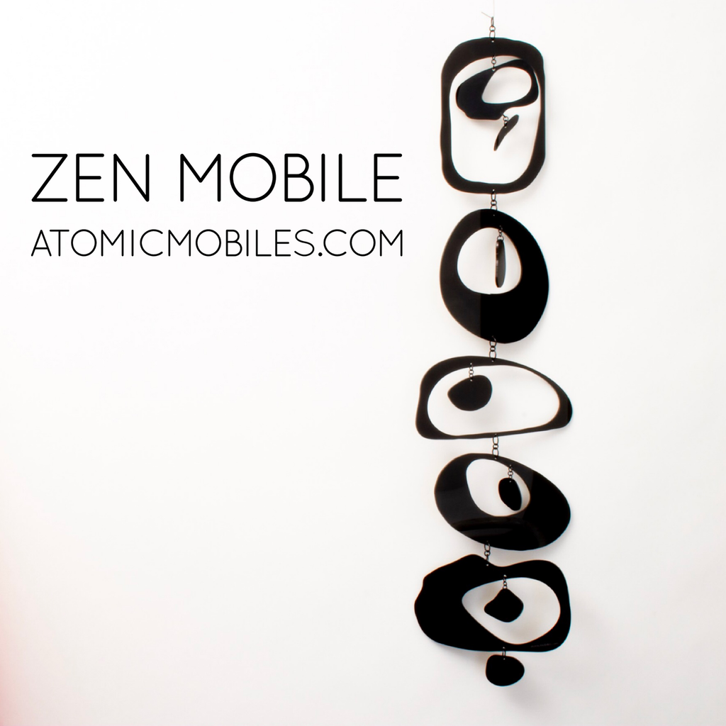 Zen Mobile in Black by AtomicMobiles.com on white background - calm kinetic sculpture inspired by rock balancing