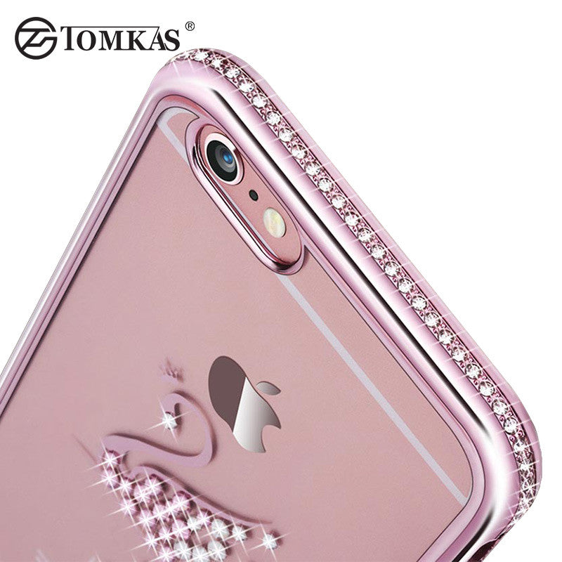 Tomkas Rhinestone Silicone Case For iPhone 6 6S / 6S Plus Glitter Cute