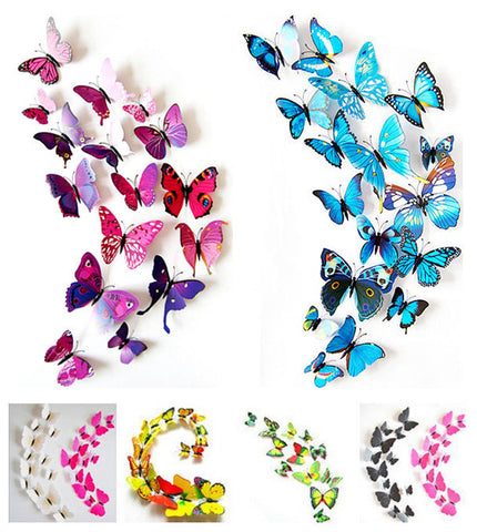 Hot Selling 12PCS 3D PVC Magnet Butterflies DIY Wall Sticker Home Decor Poster for Kids Rooms t Wall Decoration Drop