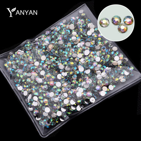 Hot 1000pcs/pack Fashion AB Rhinestone Nail Art Tools Charm Glitter DIY 3d Acrylic Nail Tips Decoration