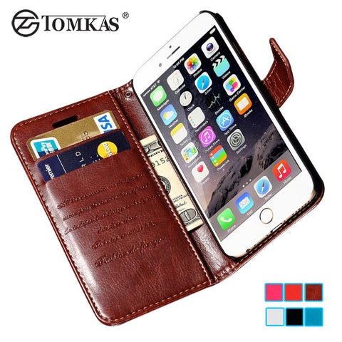 Wallet Flip Case For iPhone 6 6S / 6 Plus 6S Plus Luxury PU Leather Cover With Card Holders Fundas Black Coque i Phone Bag
