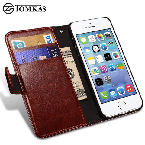 Wallet Leather Case for Apple iPhone 5S 5 SE Luxury Flip Coque Phone Bag Cover For iPhone 5s Cases Fundas TOMKAS Brand