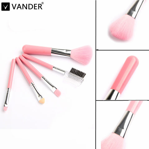 VANDER Mini 5Pcs Pink Makeup Brushes Cosmetics Tools pincel maquiagem Eyeshadow Eye & Face Lipstick Makeup Brush Set Blush Soft