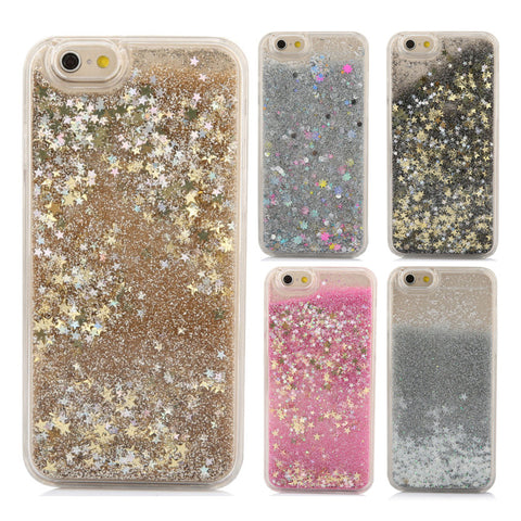 For iPhone 6 6S Plus 5 5S SE 7 7 Plus 4 4S Phone Cases Dynamic Liquid Glitter Star Quicksand Colorful Sequin Hard Back cover