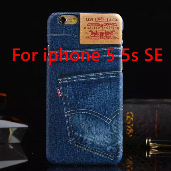 For iphone 5 SE / 6 / 6plus 7 Men Women Jean Style Phone Blue Case for iphone 5S 6s 6 plus 7 7 plus Denim Printed Hard PC Cover