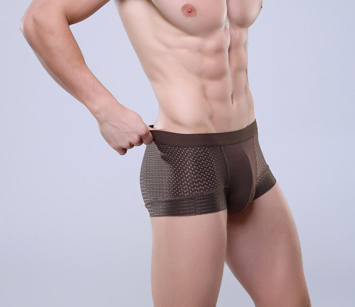 Breathable Mesh Silk Men's Boxer  Four Corner Underwear Wholesale