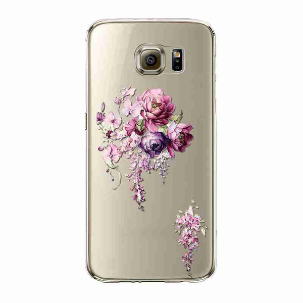 Phone Case For Samsung Galaxy S5/6 S6Edge Beautiful Dandelion Balloons Peacock Fruit Soft TPU Back Cover Skin Shell Capa Celular
