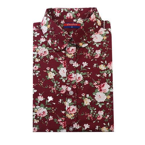 Clearance! Women Blouses Turn Down Collar Floral Blouse Long Sleeve