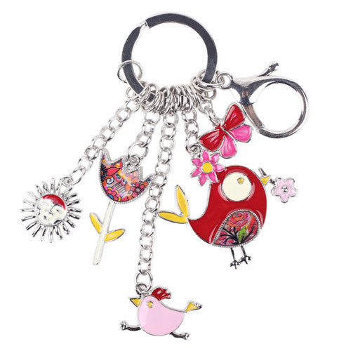 Bonsny Enamel Alloy Fish Chicken Marvel Alloy Key Chain For Women Girl