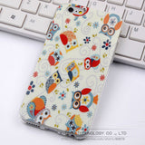 "Cute Owl Tower Flag Pattern Cartoon Soft TPU Silicon Case For Apple iphone 6 6S iphone6 4.7"" ShockProof Back Protective Cover"
