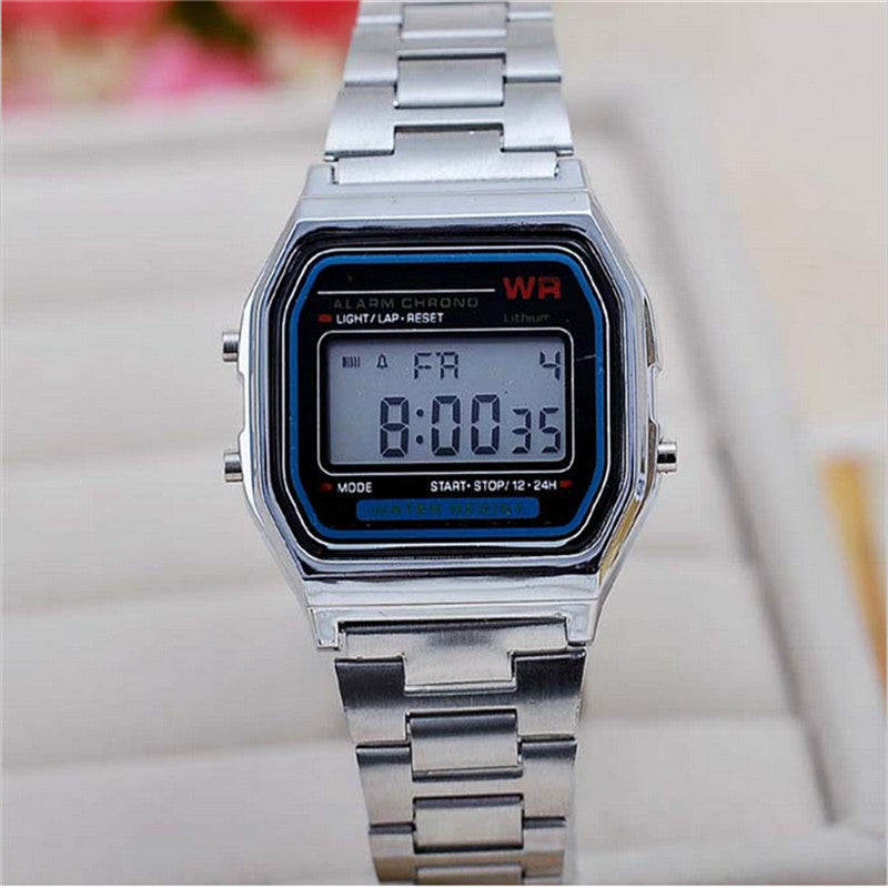 New Fashion gold silver Silicone Couple Watch digital watch square