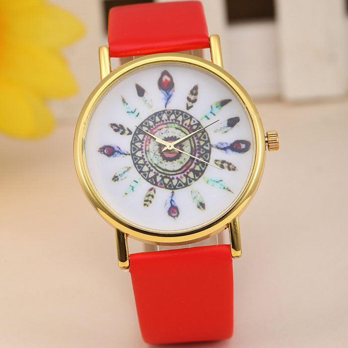 Fashion Rose Flower Print Silicone Floral Jelly Sports Quartz