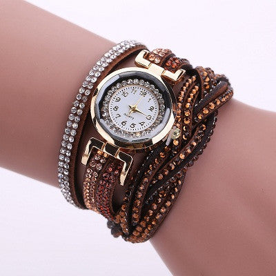 New Luxury Bracelet Watch Women Casual Quartz Watch Rhinestone PU