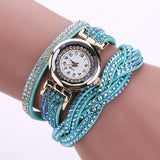 New Luxury Bracelet Watch Women Casual Quartz Watch Rhinestone PU Leather Ladies Dress Watches Fashion Wristwatch Gift