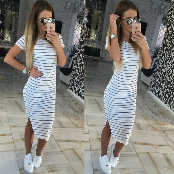 Casual Summer Women Dress Short Sleeve Round Neck Slim Fit Bodycon