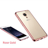 Ultra Thin Rose Gold Plating Crystal Clear Case for MEIZU M3 Note Luxury Soft TPU Back Cover Case for Blue Charm Note 3 Cases