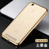Ultra Thin Rose Gold Plating Crystal Clear Case For Xiaomi Redmi 3 Pro/3S Prime With Fingerprint Luxury Soft TPU Back Cover Case