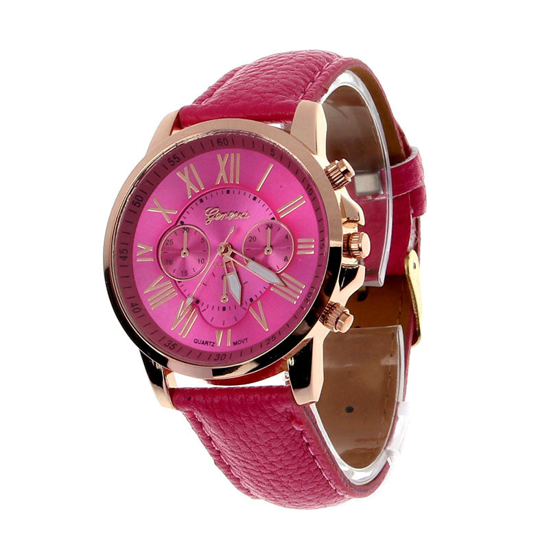 Fashion Brand Geneva Watch Women Men Casual Roman Numerals Faux