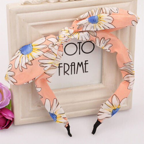 New Floral Flowers Hairband Fabric Butterfly Bow Knot Hair Hoop Rabbit