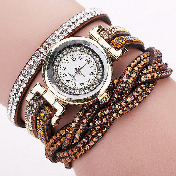 CCQ New Fashion Casual Quartz Women Rhinestone Watch Braided Leather