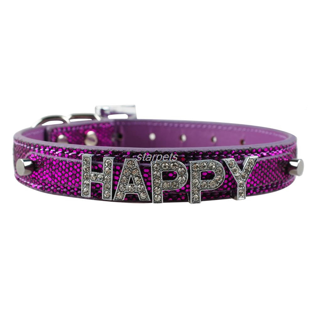 Bling Personalized Pet Dog Collar Rhinestone Customized Name Diamond