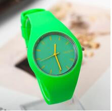 New Famous Brand Geneva Mint Green Color Jelly Quartz Watch Women