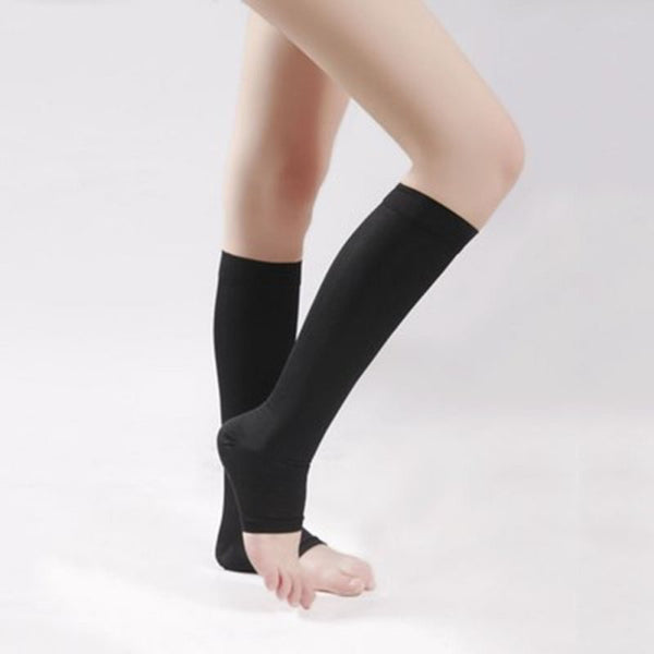 Stockings 18-21mm Hg COMPRESSION KNEE HIGH Open Toe Men Women Support Stockings