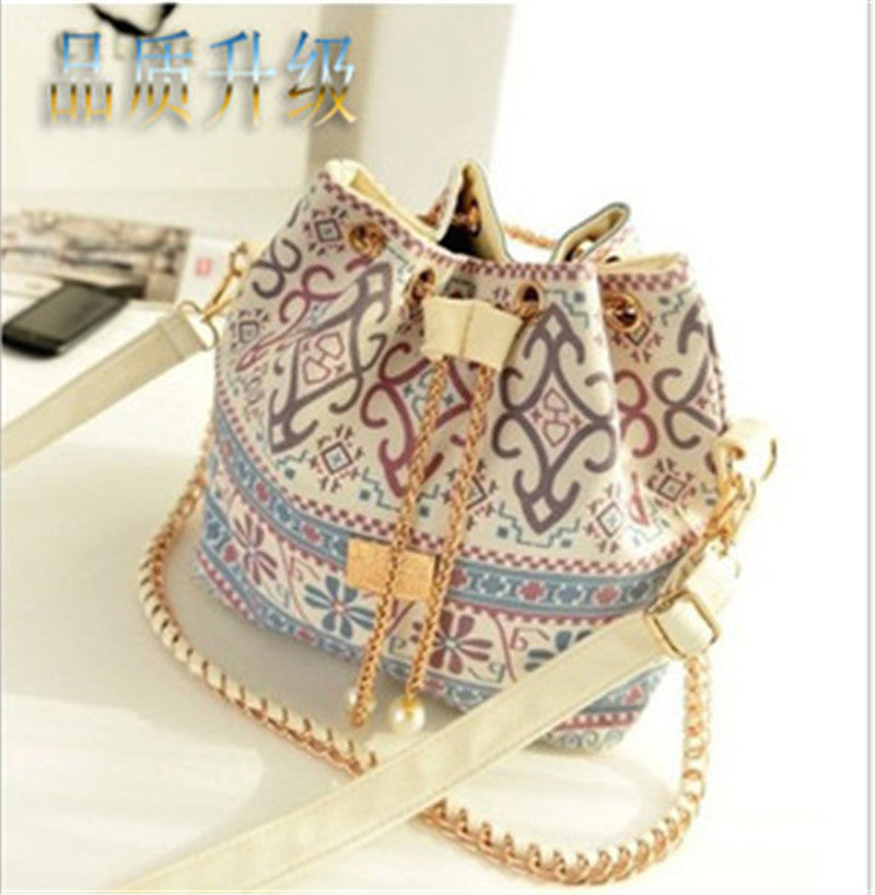 Bohemia Canvas Drawstring Lady Bucket Bag New Chains Shoulder Handbags