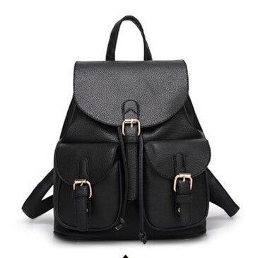 New Women Leather Backpack Black Bolsas Mochila Feminina Large Girl