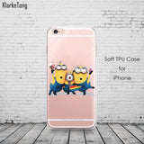 Cute Despicable Me Yellow Minion Design Cover Sofe Minions Case For iphone 6 6s 5 5s SE 7 plus Transparent Silicone Coque Fundas