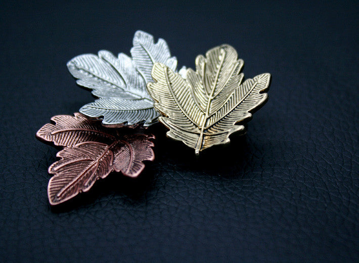 Broche Mujer Vintage Pin Maple Leaf Brooch Gold Silver Plated Brooches