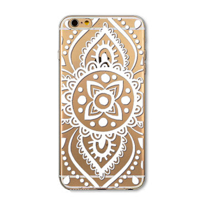 Case for iPhone 6 6s 4.7inch Painted Pattern Flower Henna White Floral