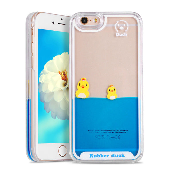 For iPhone 5S Case Flowing Liquid Swimming Duck Transparent Hard Case For iPhone 5 SE/6 6S/6 Plus/6S Plus/7 7 Plus Phone Cases