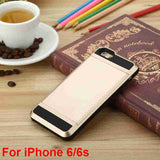 "Hot ! Luxury Slim Hybrid Credit Card Pocket Wallet Pouch Phone Case PC Back Cover For iPhone 5 5s 6 6s 4.7'' 6Plus 5.5"" Cases"