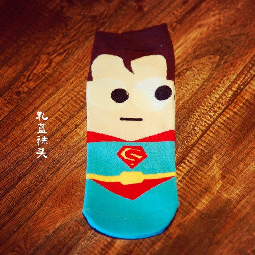 new summer super hero Cartoon man Casual ankle cotton socks men boat