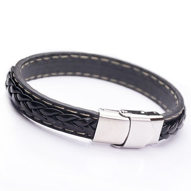 Black Genuine Leather Bracelet Men Bangle With Stainless Steel Fashion