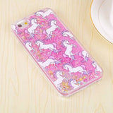 "Cartoon Unicorn Horse Dynamic Paillette Glitter Stars Water Liquid case for iPhone 5 5s SE 6 6s 4.7""/6 plus 5.5"" plastic Covers"