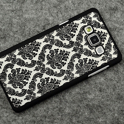 Retro Hard Plastic Case For Samsung Galaxy A5 J7 J5 Cover Vintage Damask Flower Cover Case For Samsung A5 A7 A3 A8