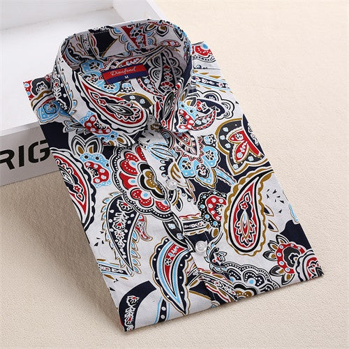 Tribal Print Blouses Women Vintage Shirts Long Sleeve Cotton Tops